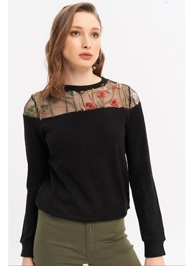 ESQ Üstü Organize Çiçek Desenli Akrilik Bluz Siyah